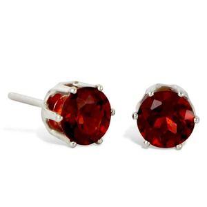 Savvy Cie Ster. Silver Round Garnet Stud Earrings